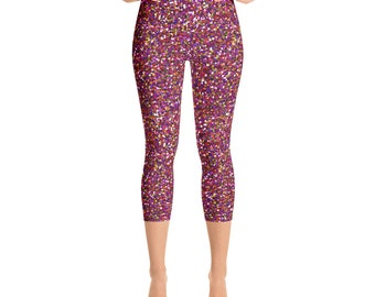 Multi Colored Glitter Yoga Capri Leggings