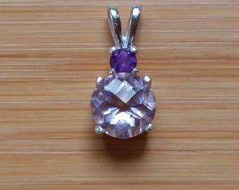 Rose De France Quartz pendant 7mm w/ 3mm Amethyst accent stone