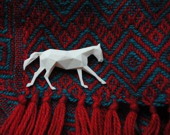 Horse - 3D printed Polygonal Brooche, PLA