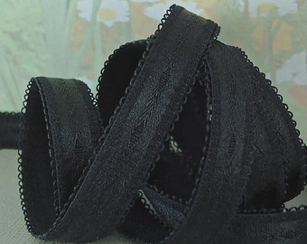 3yds Elastic Satin Shiny Black 1/2 inch wide Elastic Bands perfect for Bra Strap lingerie Headbands sewing projects