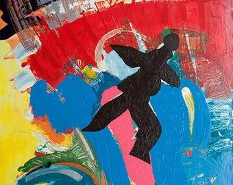 Bonhomme noir. Peinture à l'huile sur toile et châssis