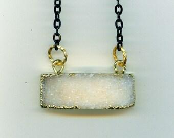 White Druzy Black Necklace