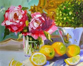 LEMONS ON BLUE Art Print of Original Oil Painting, Pink roses, lemons and French vase