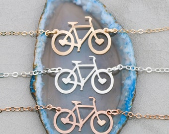 Biker Gift Bicycle Necklace Biker Jewelry Bicycle Silver Cyclist Fitness Gift Rider Gold Bicycle Charm Fitness Jewelry Exercise Mother's Day