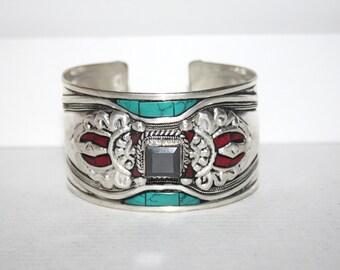 Turquoise Bracelet, Onyx bracelet, Coral Bracelet, Silver bracelet, Boho bracelet, Tribal Bracelet, Gypsy bracelet, Tibetan bracelet BTBA21