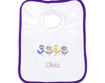 Personalized Baby Girl Bib with Flowers