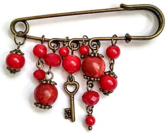 Brooch vintage jewelry Red coral brooches wholesale Antique brooches and pins for dresses red brooch jewelry vintage broach pin back in bulk