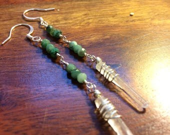 Simple clear quartz crystal drop earrings, Silver with emeralds