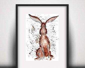 Giclee print, Hare watercolour PRINT, hare, watercolour painting, hare illustration, hare art print, countryside art, animal art