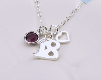 Silver 18th Birthday Necklace with heart, sterling silver, custom birthstone crystal, happy birthday gift