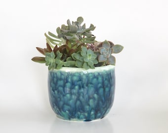 Green Blue Planter Pot in a Waterfall Glaze