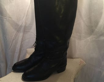 Joan & David Black Leather Knee High Riding Boots Size 7 US -- Size 37.5 EU ----   Made in Italy