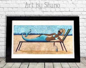 Vacationing Mermaid Art Print, Beach Decor, Nautical Artwork, Sea, Ocean,Bathroom Decor,Signed Art Print,Wall Hanging, Dorm Room Decor Shano