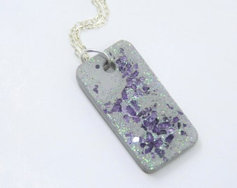 Necklace concrete with glass-violet-gift-