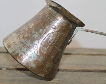 Vintage Plated Metal Turkish Coffee Pot /Butter Warmer with Long Handle and Pour Spout