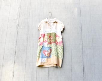 Sommer-Tunika, bis radelte Kleidung, florale Tunika Baumwolle Kleid, knielang, geringes Gewicht, Sommerkleid, Altholz, Upcycled, CreoleSha