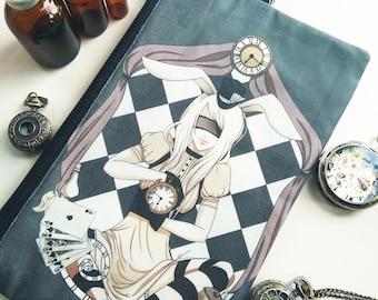Alice Zippered Pouch - Steampunk Wonderland Clutch bag Purse Wristlet - Cosmetic pencil school - Bianca Loran Art