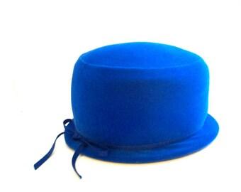 Vintage Hat, Vintage Cloche Hat, Blue Cloche, Blue Cloche Hat, Blue Hat, Vintage Blue Hat, Blue Velvet Hat, Velvet Cloche, Velvet Cloche Hat