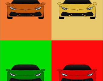 Colorful Lamborghini Huracan Poster // Colorful Car Posters