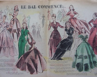 set of 10 vintage pages - fashion from the 40s - REF. 55065