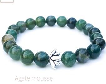Lotus bracelet, Moss agate bracelet, Mala meditation bracelet, Natural gemstone bracelet, Yoga bracelet, Beaded bracelet, Gift for woman
