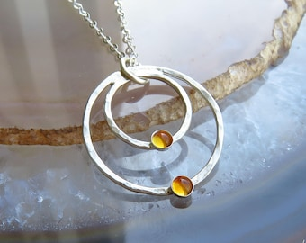 Silver Citrine Necklace, Citrine Jewelry, November Birthstone Necklace, Genuine Citrine Necklace