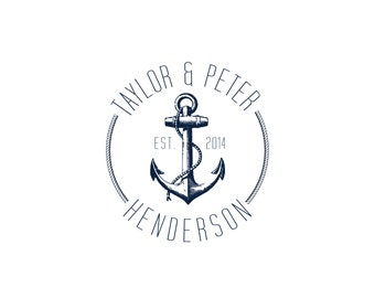 Custom Wedding Logo - Anchors Aweigh: Nautical, Preppy, Coastal, Classic