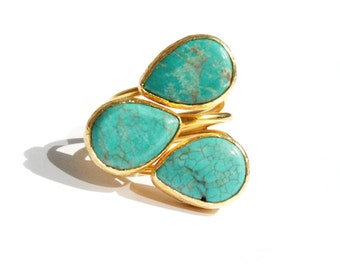 Turquoise Ring with three teardrop stones, gold statement ring, birthstone ring, turquoise jewelry, big turquoise ring, gold turquoise ring