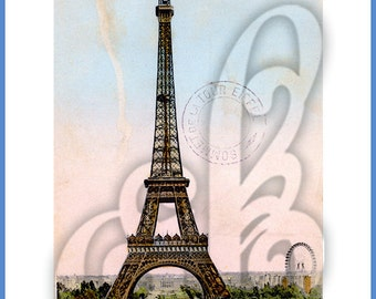 Vintage Digital Image of Eiffel Tower Postcard from Paris, France.