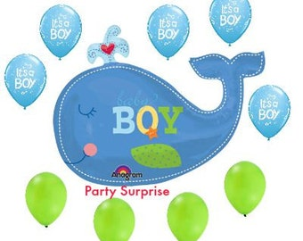 Sale! Baby Boy Shower Nautical Balloons, Whale Balloon, Baby Boy Balloon Bouquet, New Baby Boy Balloons