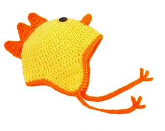 Yellow Chicken Hat, Crochet Animal Hat, Kids Chicken, Crochet Baby Hat, Toddler Hat, Knit Kids Hat, Crochet Chicken, Yellow Hat, Farm Animal