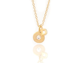 Floating Gemstone and Initial Necklace - Delicate Chain - Small Gold Vermeil Disc and Gemstone Charm - Letter Charm - 16in. Necklace