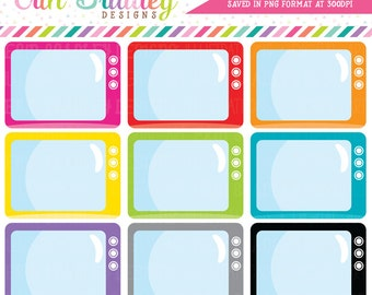 TV Clipart, Television Set Clip Art Graphics, Planner Clip Art, Personal & Commercial Use OK