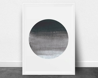 Circle Print, Circle Art, Minimalist Art Print, Printable Art, Printable Wall Decor, Geometric Art, Watercolor, Black and White, Ombre, Grey