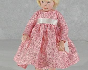 7 inch Doll, Kinder Kid Dress, Dusty Rose