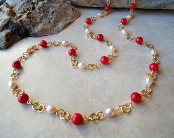 Long Necklace.Red Coral Gemstone.Freashwater pearl.Metal plate in 24K gold.Lariat.Double Strand.Statement.Layering.Bridal.Mother's.Handmade.