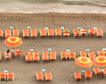 Coastal Wall  Art, Waves, Beach Umbrellas, Positano
