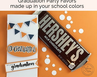 Graduation / Personalized with School Colors / Candy Bar Wrappers / Congratulations Graduate / Banner / Hershey / Graduation Party Favor