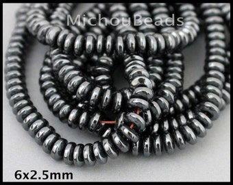 "16"" Strand - 6mm RONDELLE Genuine HEMATITE Gemstone Beads - A Grade 6x2.5mm Non Magnetic 1mm Hole Saucer Hematite - Instant Ship - USA  6635"