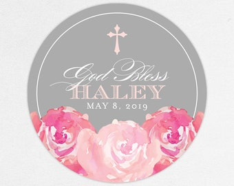 Pink Communion Stickers, Watercolor Flower Communion Stickers, Blue and Pink Communion Stickers, Floral Communion Labels, God Bless Stickers