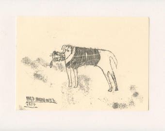 FIERCE DOG 4 - A Mono Print - Original Faye Moorhouse Illustration drawing art