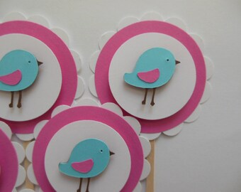 Bird Cupcake Toppers - Pink, Aqua and White - Girl Party Decorations - Girl Baby Showers - Set of 6