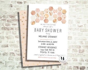 24 HR or LESS // Pink Hexagon Baby Shower Invitation