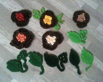 4 to 8cm glossy dark brown flower to the hook/large Brown/Brown /brown crochet crochet flower embellishment flower/brown flower
