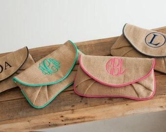 Monogrammed Wristlet Wallet | Burlap Clutch | Personalized Wristlet