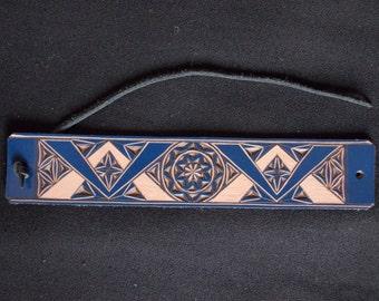 Carved leather bracelet