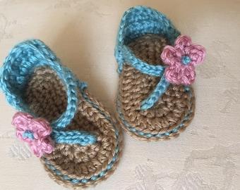 Crochet baby shoes - baby girl sandals - infant sandals - baby booties