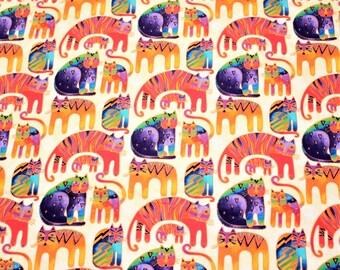 Laurel Burch FLANNEL Rare OOP Fantastic Felines Flannel Fabric Cats on Cream - By The HALF Yard