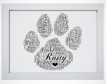 Personalised Cat Dog Pet Animal Memory Paw Print Framed Word Art Picture Gift