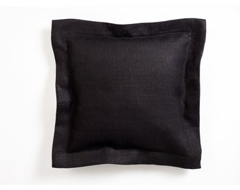 Black pillow cover, flanged linen pillow cover for decorative pillows, black pillowcase, throw pillow.